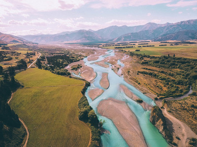 Aerial view of Waiau River