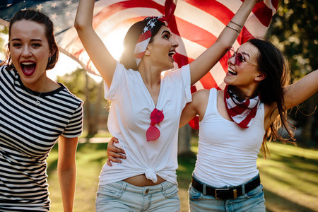 American women celebrating 4th of july holiday