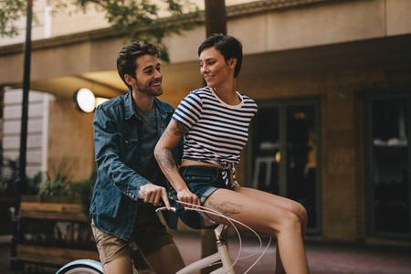 Couple enjoying bicycle ride