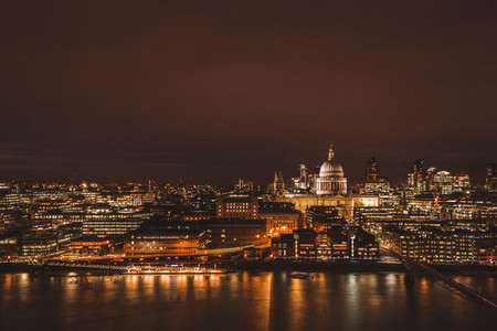 London aerial view of modern city skyline at night on River Tham