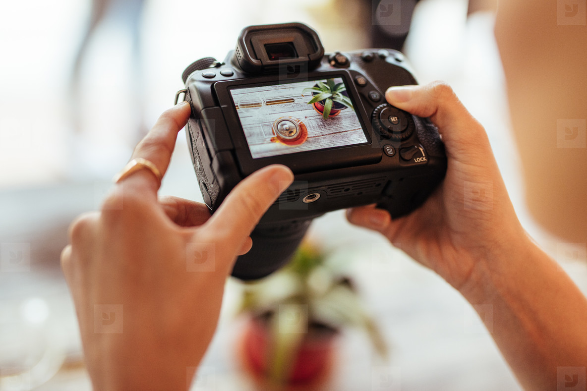 Woman taking photos for her food blog