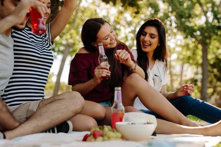 Friends enjoying a summer day at park