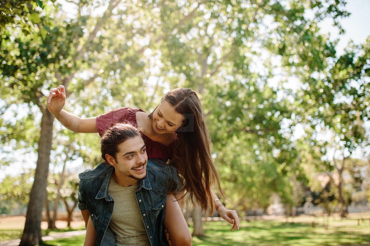 Affectionate couple enjoying outdoors