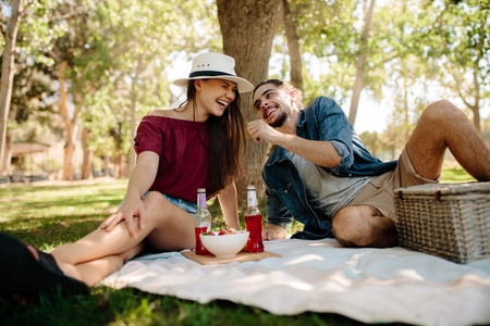 Couple enjoying at picnic