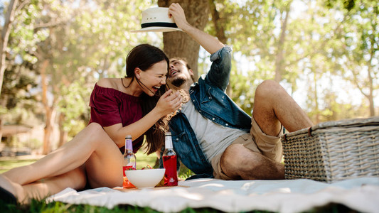 Couple in love enjoying on a picnic