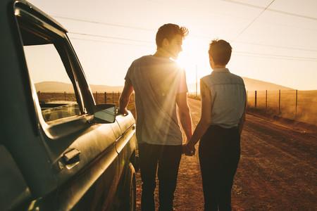 Couple enjoying on a road trip
