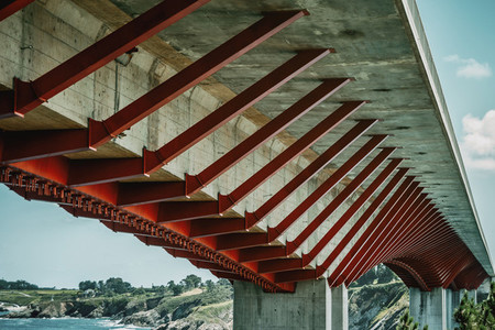 Bridge with red and white construction in Ribadeo  Spain