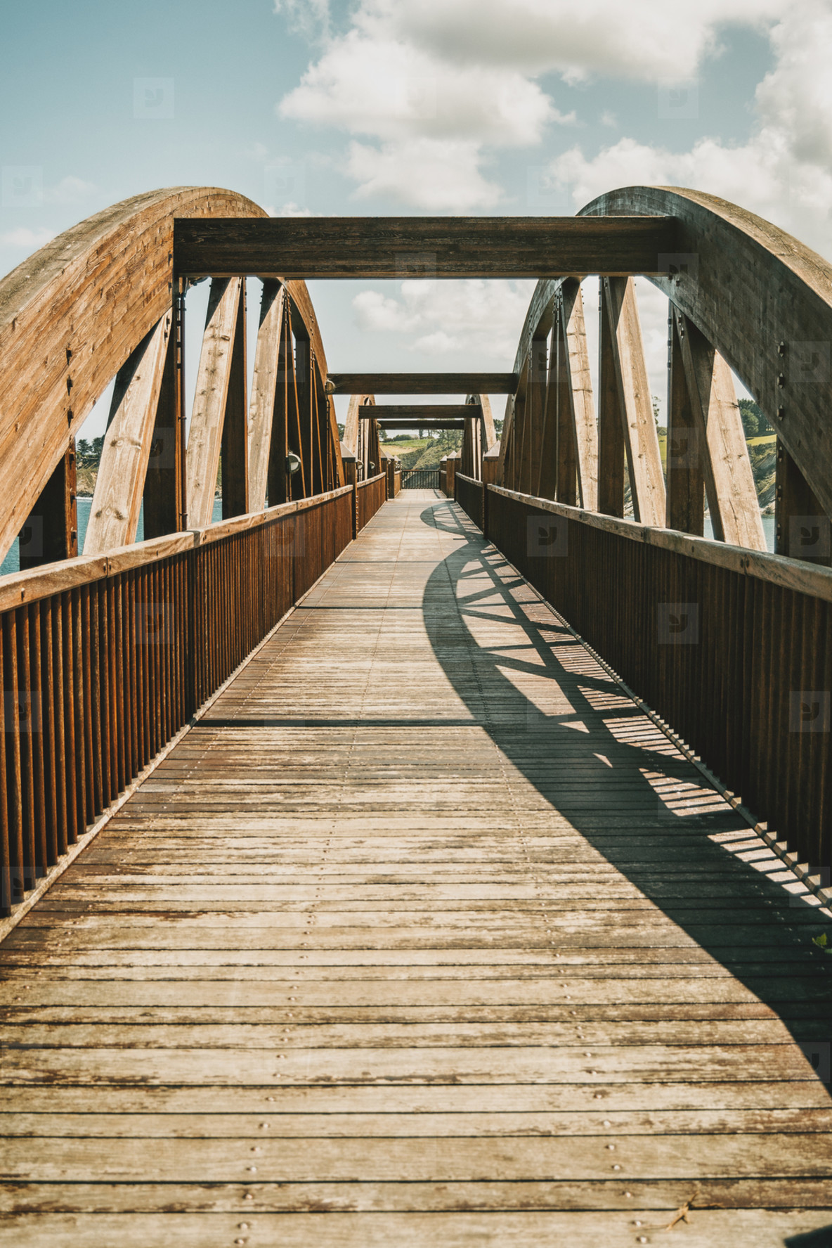 perspective of a wooden bridge in ribadeo  spain