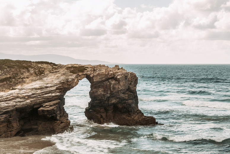 Beach of the cathedrals with large stones of Ribadeo  Spain