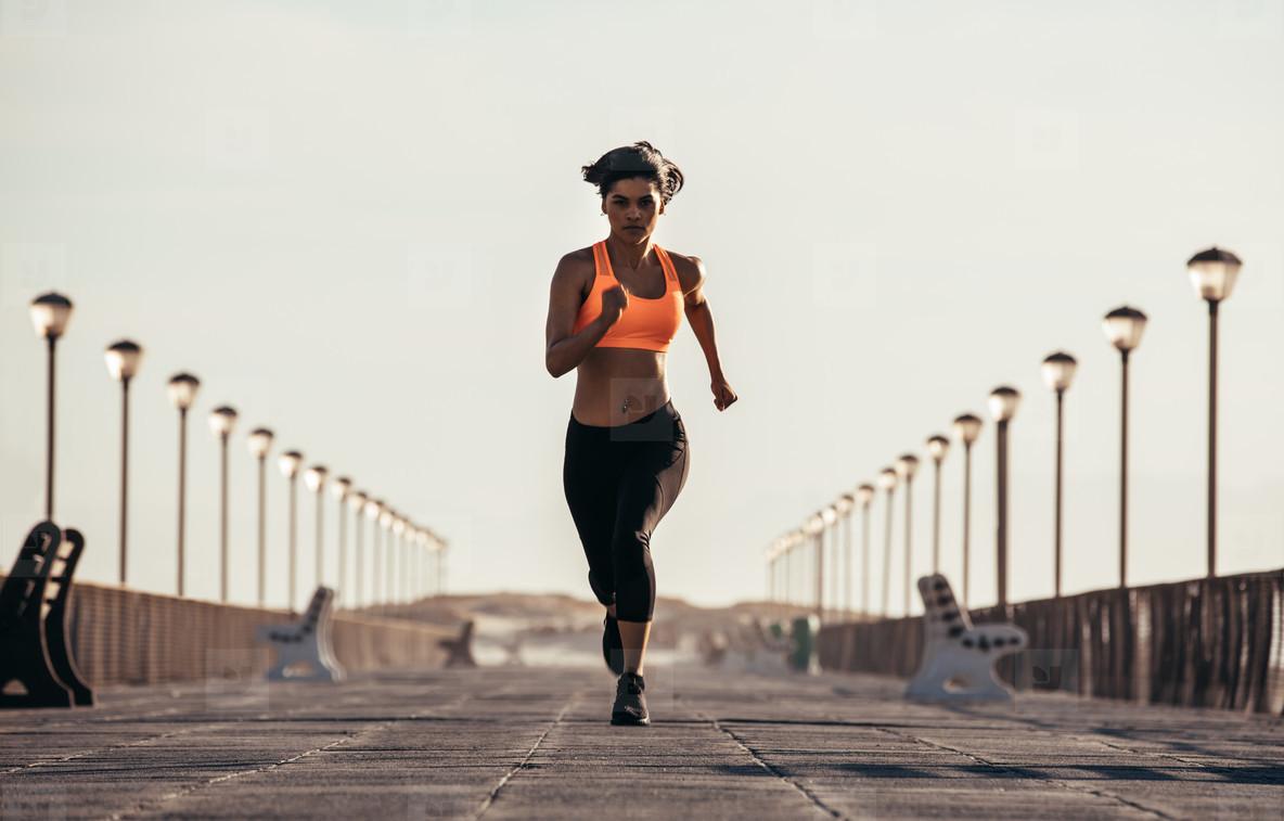 Woman on morning run