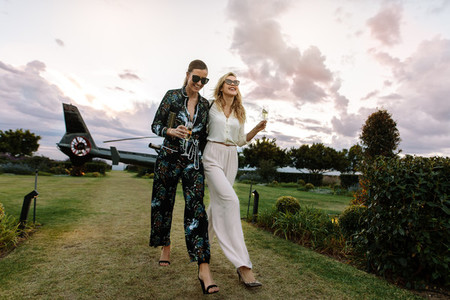 Stylish women enjoying a luxurious lifestyle