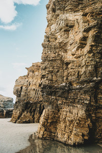 Stone texture of Las Catedrales beach  Spain