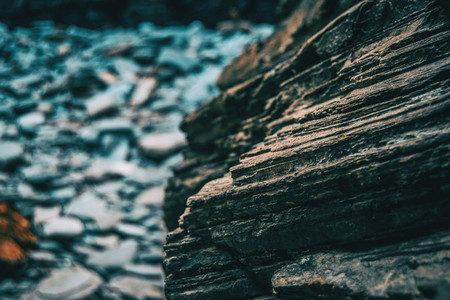 texture of gray and black stone at the beach of the cathedrals