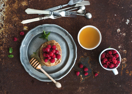 Breakfast set  Buckwheat pancakes with fresh raspberries