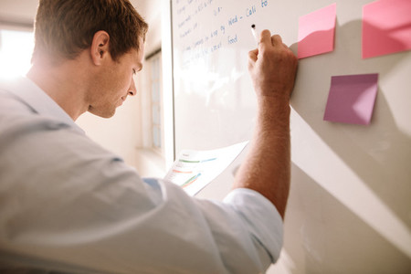 Entrepreneur placing sticky notes on white board