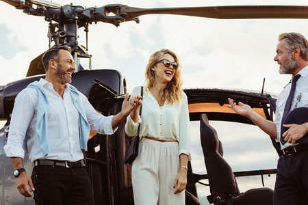 Couple travel by private helicopter