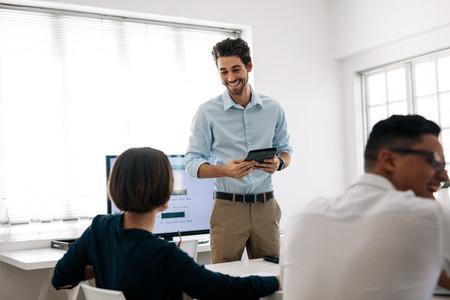Entrepreneur making a presentation at work