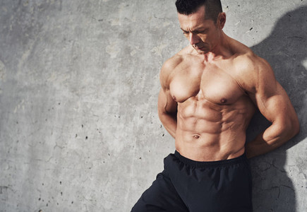 Fit and healthy muscular fitness model male man