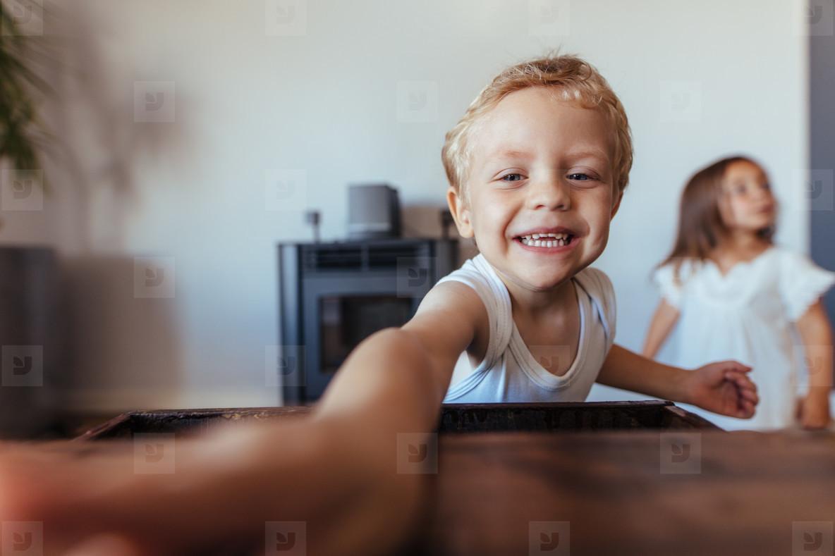 Adorable little boy smiling