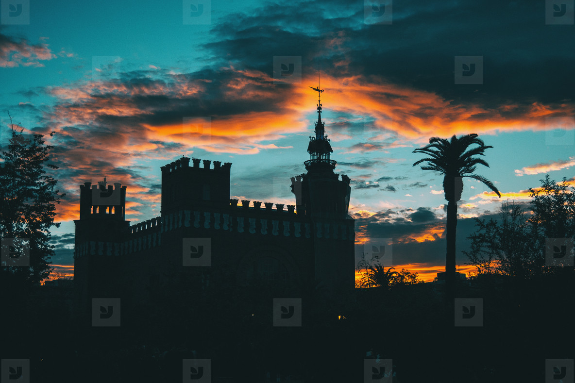 Silhouette of ciutadella garden over colorful sunset sky