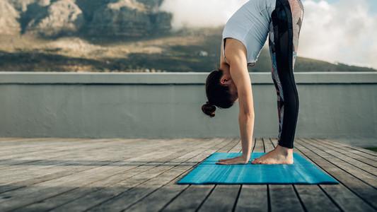 Woman doing yoga outdoor