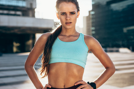Fit female athlete after workout