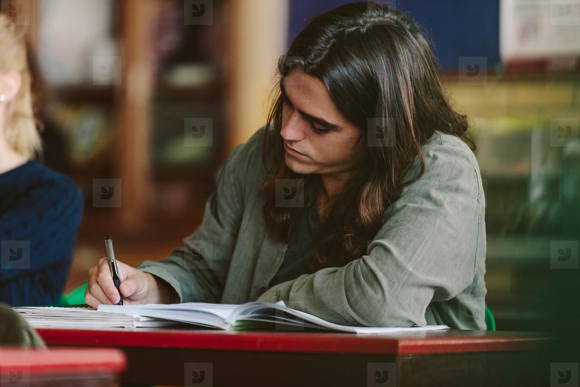 Student in university classroom