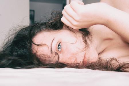 a girl lying calmly