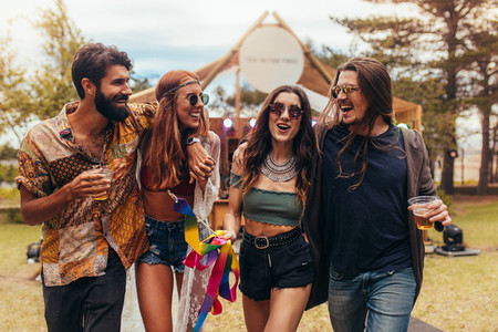 Friends having a great time at music festival