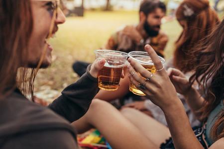 People having beers at summer festival