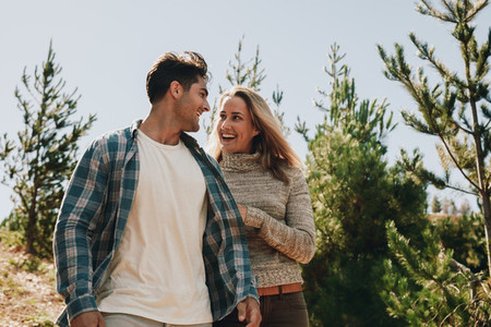 Beautiful couple on hiking