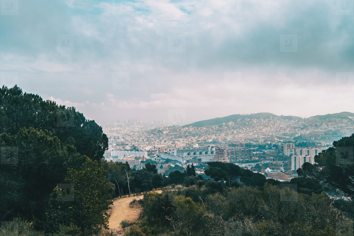 Views from collserola of the city of Barcelona
