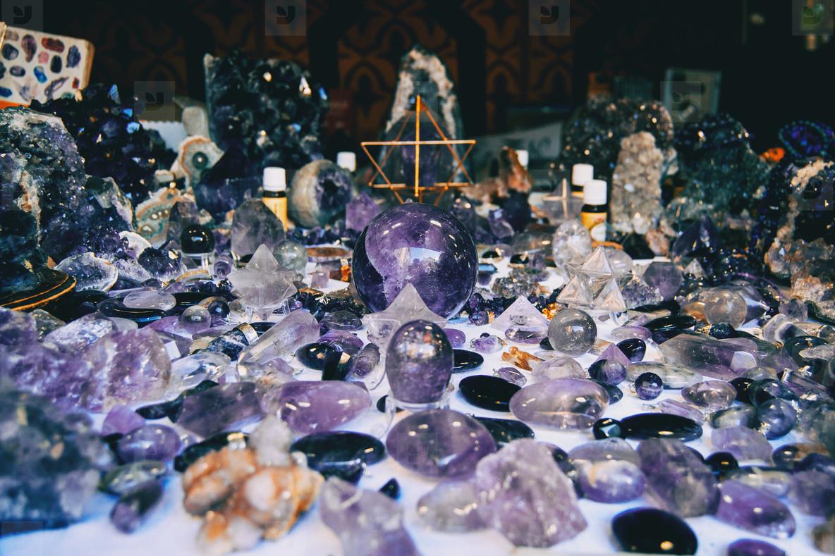 many decorative objects of amethyst