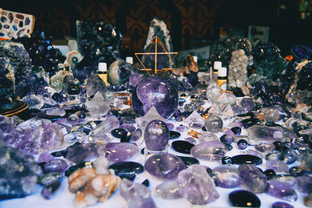 many decorative objects of amethyst