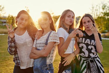 Four teenage girls fooling around