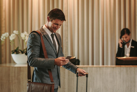 Business traveler arriving at his hotel
