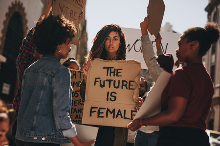 Group of women protesting outdoors