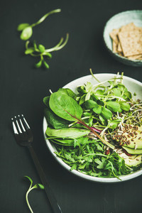 Breakfast with spinach arugula avocado seeds and sprouts in bowl