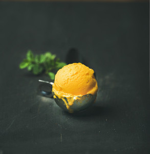 Mango sorbet ice cream scoop square crop copy space