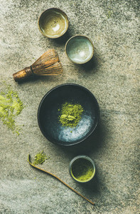Japanese tools for brewing matcha green tea  top view