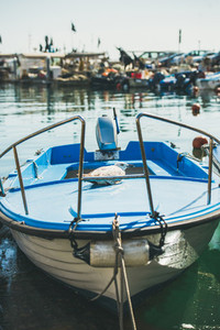Seagull having rest on blue boat in Piran marina  Slovenia