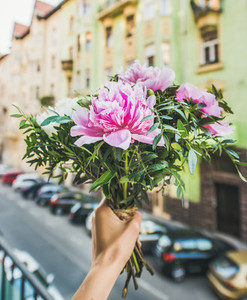 Bouquet of pink and white peony flowers  street at background