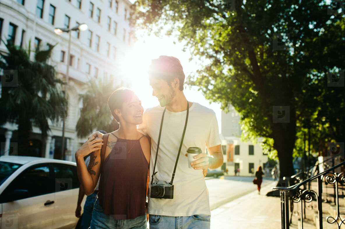 Tourist couple in romantic mood outdoors