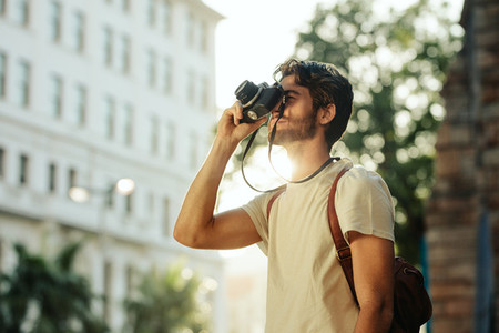 Man exploring the city