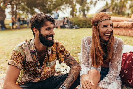 Couple enjoying at summer festival