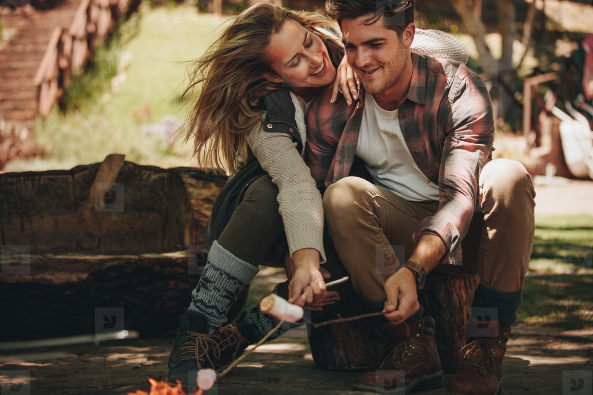 Couple having a great time on camping