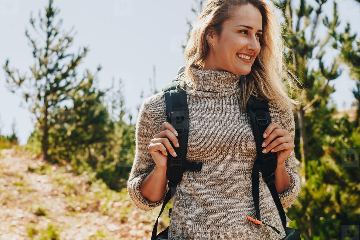 Female hike in nature