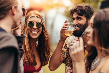 Friends enjoying at music festival