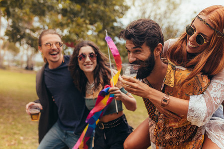 Young people enjoying a day at music festival
