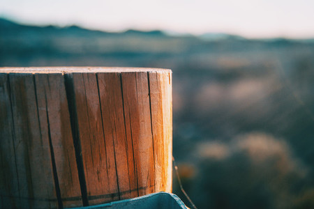 Wooden stump with a sunset light